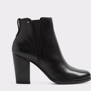 Black leather, Block heel booties (worn once)